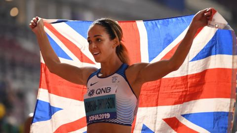 Britain's Katarina Johnson-Thompson was crowned heptathlon world champion in Doha.