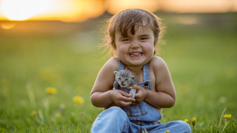 """Pets bring joy to our lives (yes, dog lovers -- even cats). Need more proof than the gleeful smile on this child's face? <a href=""""https://www.sciencedirect.com/science/article/pii/S0747563215004343"""" target=""""_blank"""" target=""""_blank"""">A study from Indiana University</a> found simply watching cat videos boosted energy and healthy positive emotions and decreased negative feelings."""