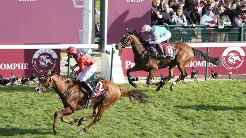 Waldgeist (left) beat odds-on favorite Enable to win the Qatar Prix de l'Arc de Triomphe.