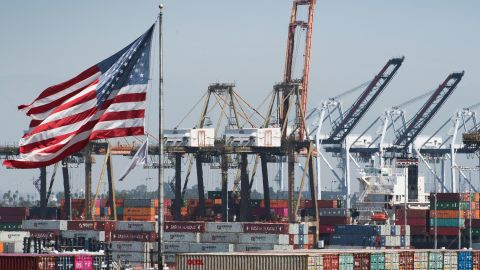 Shipping containers from China and other Asian countries are unloaded at the Port of Los Angeles as the trade war continues between China and the US, in Long Beach, California on September 14, 2019. - China announced it will exempt soybeans and pork from its retaliatory tariffs, a hugely symbolic move to appease Trump ahead of a new round of talks due next month. (Photo by Mark RALSTON / AFP)        (Photo credit should read MARK RALSTON/AFP/Getty Images)