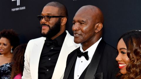 ATLANTA, GEORGIA - OCTOBER 05: Tyler Perry and Evander Holyfield attend his studio grand opening gala at Tyler Perry Studios on October 05, 2019 in Atlanta, Georgia. (Photo by Paras Griffin/Getty Images for Tyler Perry Studios)