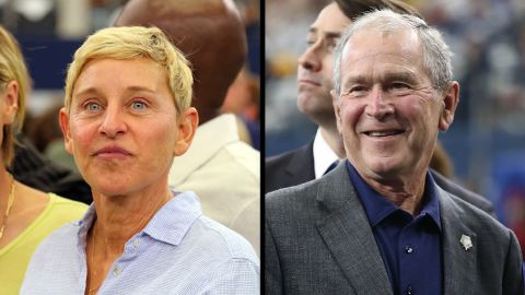 ARLINGTON, TEXAS - OCTOBER 06: Portia de Rossi and Ellen DeGeneres watch the Green Bay Packers and Dallas Cowboys warm up before the game at AT&T Stadium on October 06, 2019 in Arlington, Texas. (Photo by Richard Rodriguez/Getty Images)  ARLINGTON, TEXAS - OCTOBER 06: Former President George W. Bush and former First Lady Laura Bush attend the NFL game between the Dallas Cowboys and the Green Bay Packers at AT&T Stadium on October 06, 2019 in Arlington, Texas. (Photo by Ronald Martinez/Getty Images)