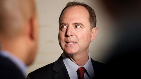 Rep. Adam Schiff (D-CA), Chairman of the House Select Committee on Intelligence Committee speaks at a press conference at the U.S. Capitol on Tuesday, October 8, in Washington.