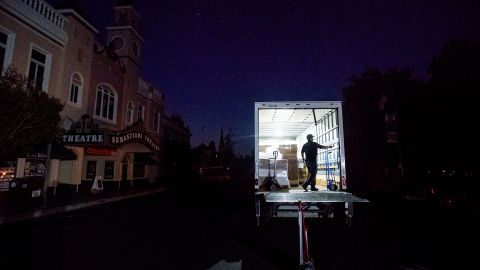 Armando Espinoza delivers paper products to a cafe in Sonoma, California, during a power outage on Wednesday.