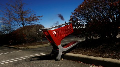 An empty Target shopping cart is seen in a parking lot outside the store in Westbury, New York, U.S., November 24, 2017. Shannon Stapleton/Reuters
