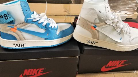 Thousands of counterfeit Nikes were confiscated.