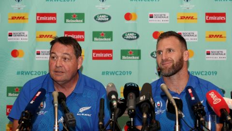 All Blacks coach Steve Hansen and captain Kieran Read speak to the media after the cancellation of their final pool stage match.