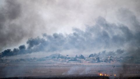Smoke rises from Tal Abyad, Syria, on October 10.