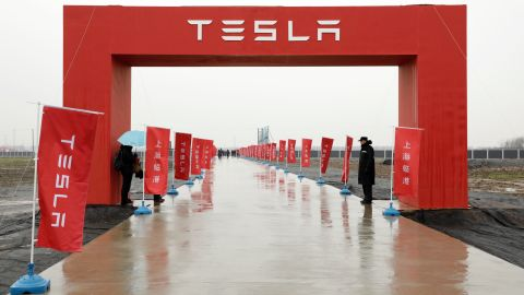 Banners line a road leading to an event at the site of the Tesla Inc. manufacturing facility in Shanghai, China, on Monday, Jan. 7, 2019.