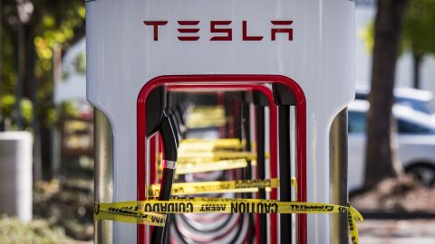 Tesla chargers in San Ramon, California, are tied off with caution tape asPG&E'smassive blackoutswept across Northern California.