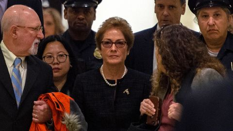Former US Ambassador to Ukraine Marie Yovanovitch (C) arrives for a closed-doors deposition before members of the House of Representatives, on October 11, 2019, in Washington.