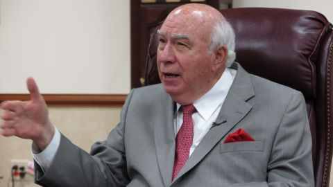 Robert Murray, the 77-year-old founder and CEO of Murray Energy Corporation, talks in his office in St. Clairsville in Ohio, United States, 19 April 2017. The coal industry in the state has set its hopes on president Donald Trump and fracking. Photo: Andreas Hoenig/dpa | usage worldwide   (Photo by Andreas Hoenig/picture alliance via Getty Images)