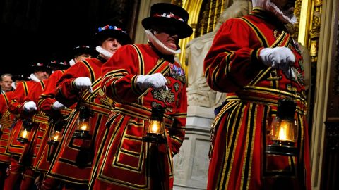 """The Yeoman of the Guard take part in the traditional """"ceremonial search"""" in the Houses of Parliament."""