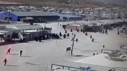 Video footage shows chaotic scenes in the Al-Hol camp in northern Syria.