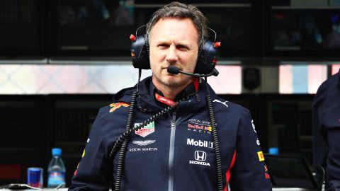 Horner looks on during practice for the Italian Grand Prix.