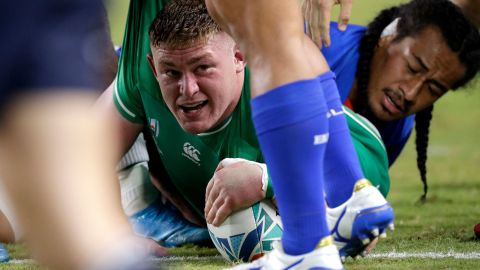 Ireland's Tadhg Furlong reacts after scoring a try against Samoa. The Irish led the game 26-5 at halftime.