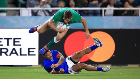 Larmour scored his side's fifth try of the game as Ireland -- which has never won the World Cup -- advanced to the quarterfinals.