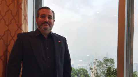 US Sen. Ted Cruz at the US consul general's residence in Hong Kong on Saturday. Cruz dressed in all black to support pro-democracy protesters.