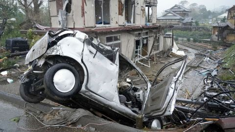 Damage from a suspected tornado is seen in Ichihara, Japan, on October 12.