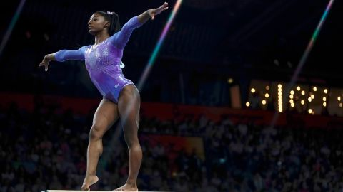 USA's Simone Biles performs on the beam during the apparatus finals at the FIG Artistic Gymnastics World Championships at the Hanns-Martin-Schleyer-Halle in Stuttgart, southern Germany, on October 13, 2019.