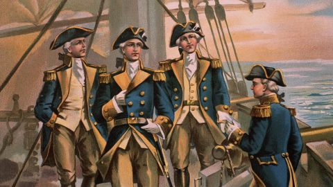 A color illustration published in 1899 depicts the commander in chief of the Continental Navy in 1776, Commodore Esek Hopkins, with his officers.