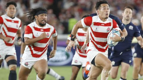 Japan was scintillating against Scotland. Here Kenki Fukuoka charges towards the try line.