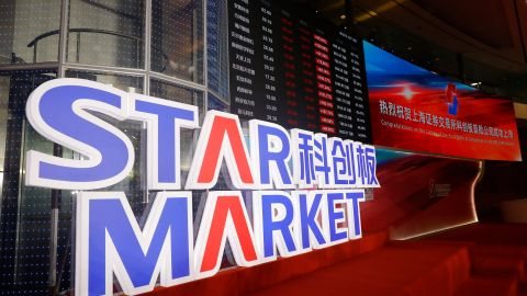 The stock index and prices of shares are displayed during the listing ceremony of the first batch of companies on the SSE Star Market in Shanghai, China, 22 July 2019.