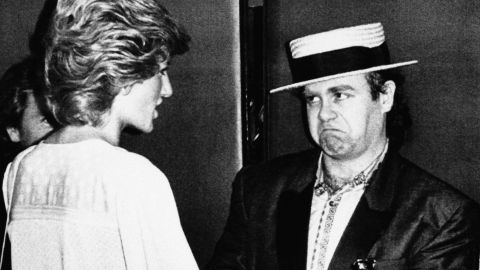 Princess Diana and Elton John at Wembley Stadium for the London end of the Live Aid concert in 1985.