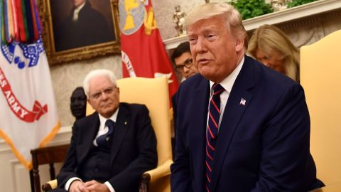 US President Donald Trump meets with Italian President Sergio Mattarella in the Oval Office of  the White House in Washington, DC, on October 16, 2019. (Photo by Brendan Smialowski / AFP) (Photo by BRENDAN SMIALOWSKI/AFP via Getty Images)