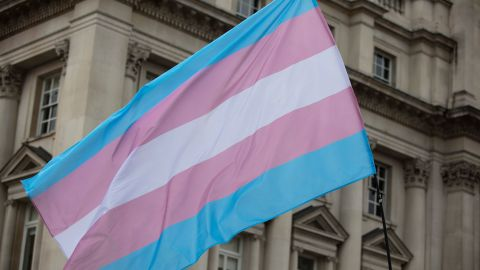 A transgender flag being waved at LGBT gay pride march; Shutterstock ID 1449773756;