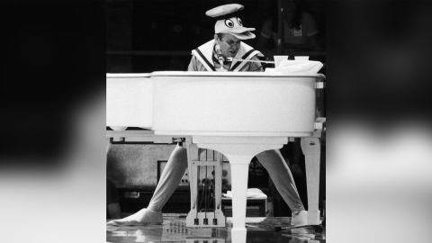 Elton John, as Donald Duck, performs a free concert in September 1980 in New York's Central Park.