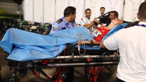 Turkey's Fadime Çelik is stretchered away from the marathon at the World Championships.