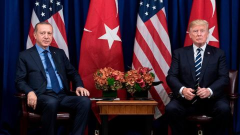 Turkey's President Recep Tayyip Erdogan and US President Donald Trump wait for a meeting at the Palace Hotel during the 72nd United Nations General Assembly September 21, 2017 in New York City.