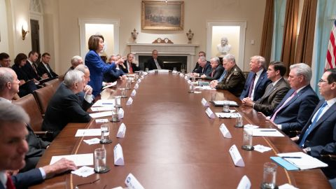 """Trump tweeted this White House photo showing Nancy Pelosi pointing at him saying """"Nervous Nancy's unhinged meltdown!"""" as an insult to the Speaker.  Pelosi later made the image her cover photo on Twitter."""