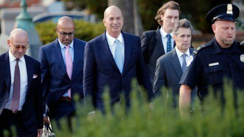 US Ambassador to the European Union Gordon Sondland, center, arrives at the US Capitol in Washington, Thursday, Oct. 17, 2019.  (AP Photo/Pablo Martinez Monsivais)
