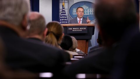 Acting White House Chief of Staff Mick Mulvaney answers questions during a briefing at the White House October 17, 2019 in Washington.