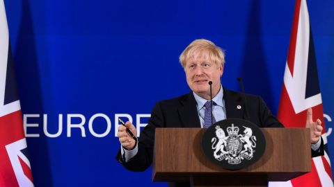 Britain's Prime Minister Boris Johnson addresses a press conference during an European Union Summit at European Union Headquarters in Brussels on October 17, 2019. (Photo by John THYS / AFP) (Photo by JOHN THYS/AFP via Getty Images)