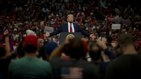 President Donald Trump delivers remarks to his supporters during a rally at the American Airlines Arena in Dallas on October 17, 2019.