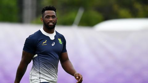 South Africa's Siya Kolisi attends a training session at the Arcs Urayasu Park in Urayasu, Chiba Prefecture on September 16, 2019, ahead of the 2019 Japan Rugby World Cup. (Photo by CHARLY TRIBALLEAU / AFP)        (Photo credit should read CHARLY TRIBALLEAU/AFP/Getty Images)