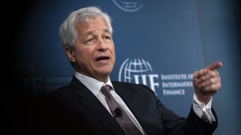 Jamie Dimon, chief executive officer of JPMorgan Chase & Co., speaks during the Institute of International Finance (IIF) annual membership meeting in Washington, D.C., U.S., on Friday, Oct. 18, 2019. The meeting explores the latest issues facing the financial services industry and global economy today. Photographer: Al Drago/Bloomberg via Getty Images