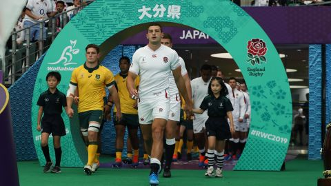 Jonny May had the honor of leading England out on his 50th international cap.