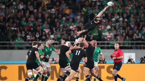 Samuel Whitelock of New Zealand stretches for a lineout ball.