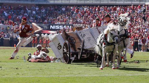 The Sooner Schooner crashed during a touchdown celebration.