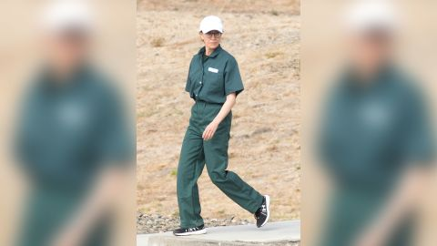 First pictures of convicted felon, Felicity Huffman seen wearing prison jumpsuit while serving out her sentence on federal charges. These sensational pictures were taken on family visiting day, at the The Federal Correctional Institution in Dublin, California.