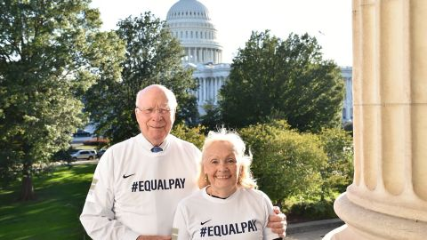 Sen. Patrick Leahy and his wife Marcelle wearing #EqualPay T-shirts.