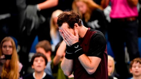 Britain's Andy Murray celebrates and reacts after winning against Switzerland's Stanislas Wawrinka in their men's single tennis final match of the European Open ATP Antwerp, on October 20, 2019 in Antwerp. (Photo by JOHN THYS / BELGA / AFP) / Belgium OUT (Photo by JOHN THYS/BELGA/AFP via Getty Images)