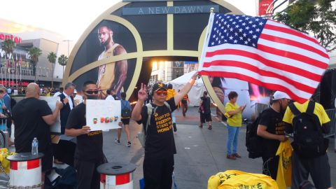 Protesters outside the Staples Center in Los Angeles  wore shirts backing Hong Kong before the game between the Los Angeles Lakers and Los Angeles Clippers on Tuesday.