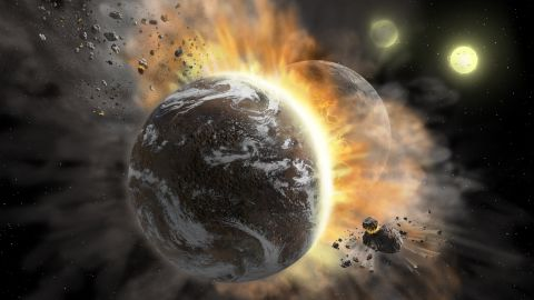 This is an artist's illustration of two exoplanets colliding in a binary star system.