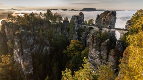 <strong>Bastei, Germany: </strong>In the Elbe Sandstone Mountains, the stunning Bastei rock formation was formed by water erosion more than a million years ago. Bastei Bridge was built in 1851.