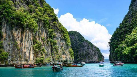 <strong>Phi Phi Islands, Thailand:</strong> Pileh Lagoon on Phi Phi Leh Island in the Andaman Sea has shallow waters that make it a fine spot for swimming.